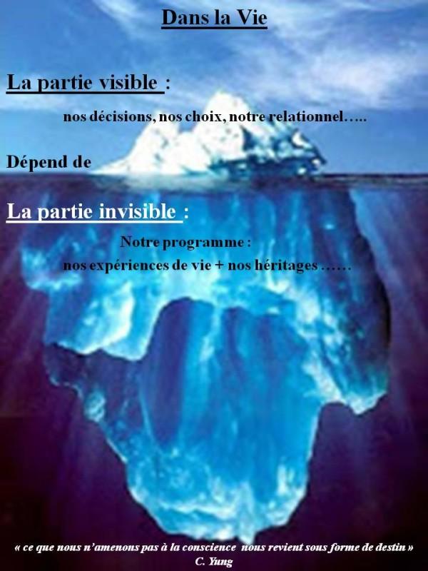 Iceberg symbole de notre fonctionnement inconscient . Nos relations, fonctionnement et pensées dépendent de notre programme inconscient, de notre expérience de vie et de nos héritages.